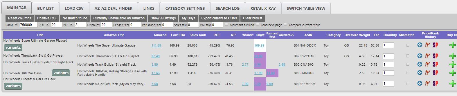 OAXray results, OAXray vs. Tactical Arbitrage, SellerEssentials.com